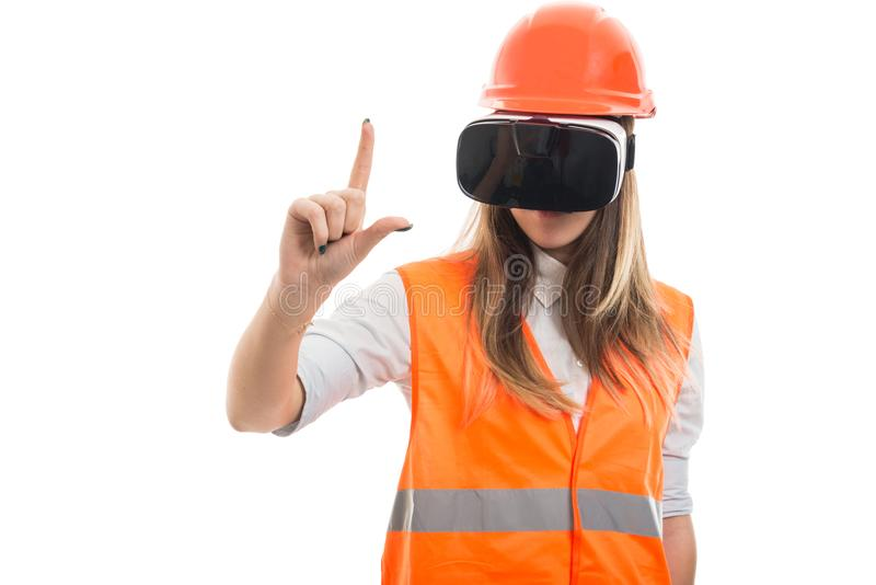 Girl with vr goggles doing a rude sign stock photography