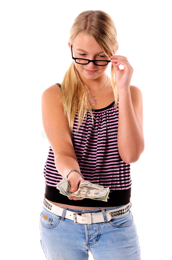 Girl with wad of money stock photography
