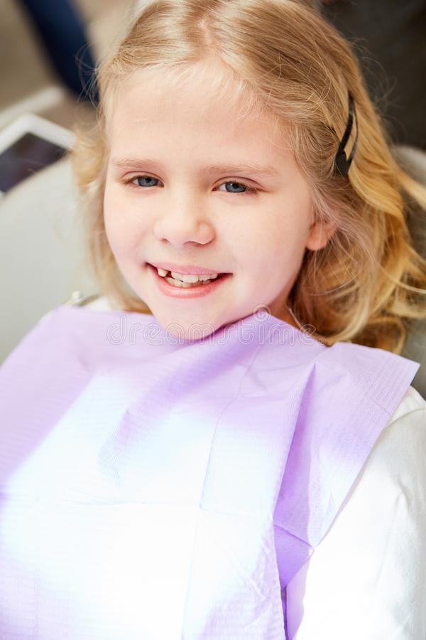 Girl is waiting for examination at the dentist. Girl as a patient smilingly awaits the examination at the pediatric dentist royalty free stock photography
