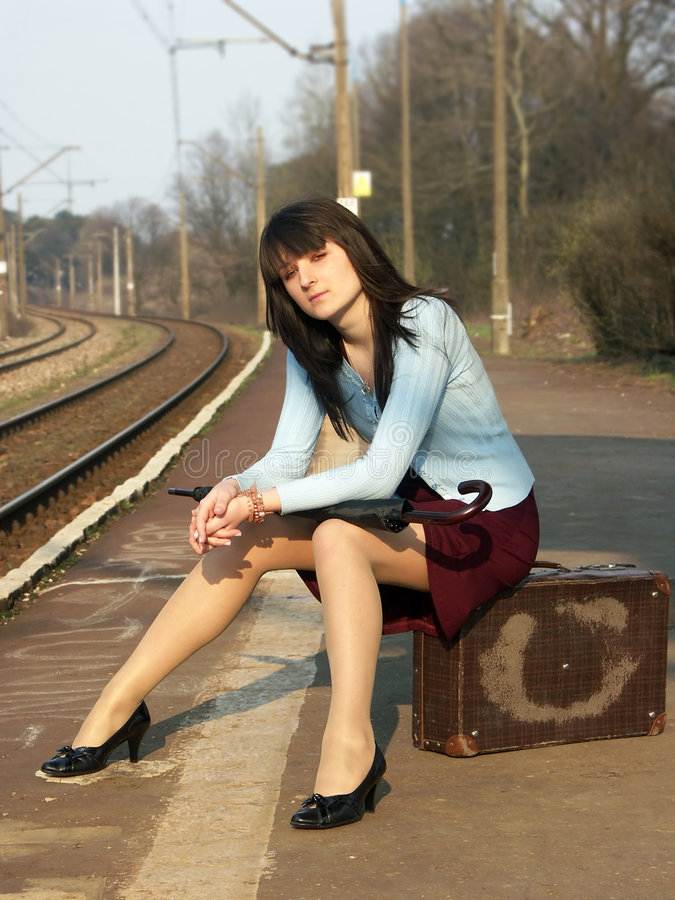 Download Girl waiting for the train stock photo. Image of train - 4259560