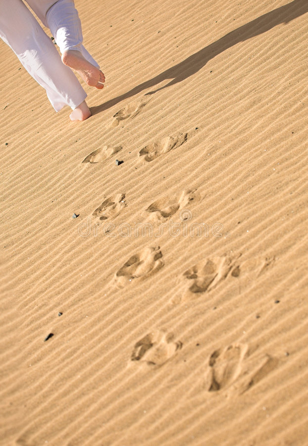Download Girl Waking On The Beach - Footprints Stock Image - Image of legs, pattern: 1884555