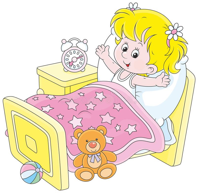 Free Girl Waking Up Stock Image - 55135671