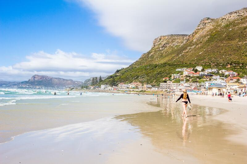 Beach fun and surfing at Surfers Corner in Muizenberg, Cape Town, Western Cape, South Africa royalty free stock images