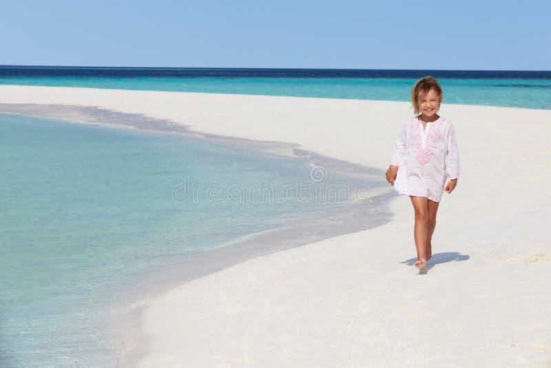 Girl Walking On Beautiful Tropical Beach Royalty Free Stock Photography