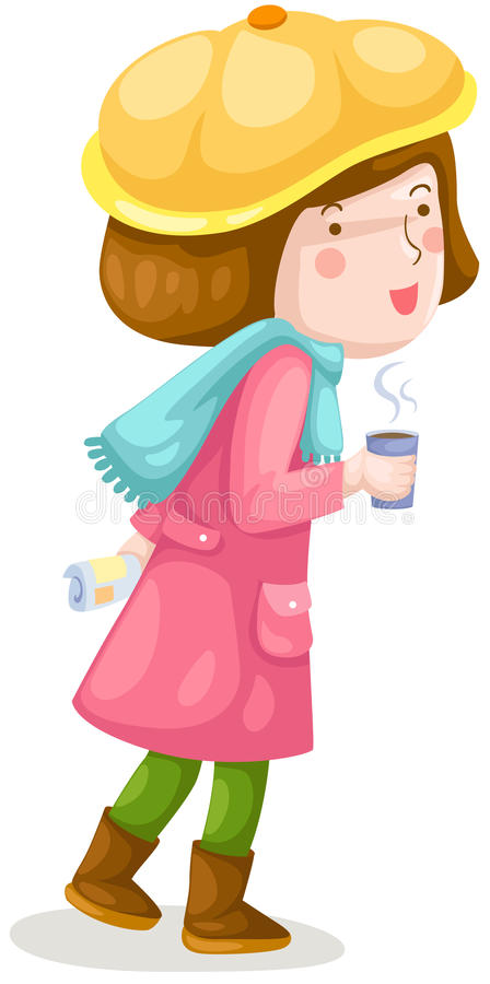 Download Girl Walking With Coffee Stock Photography - Image: 25672662