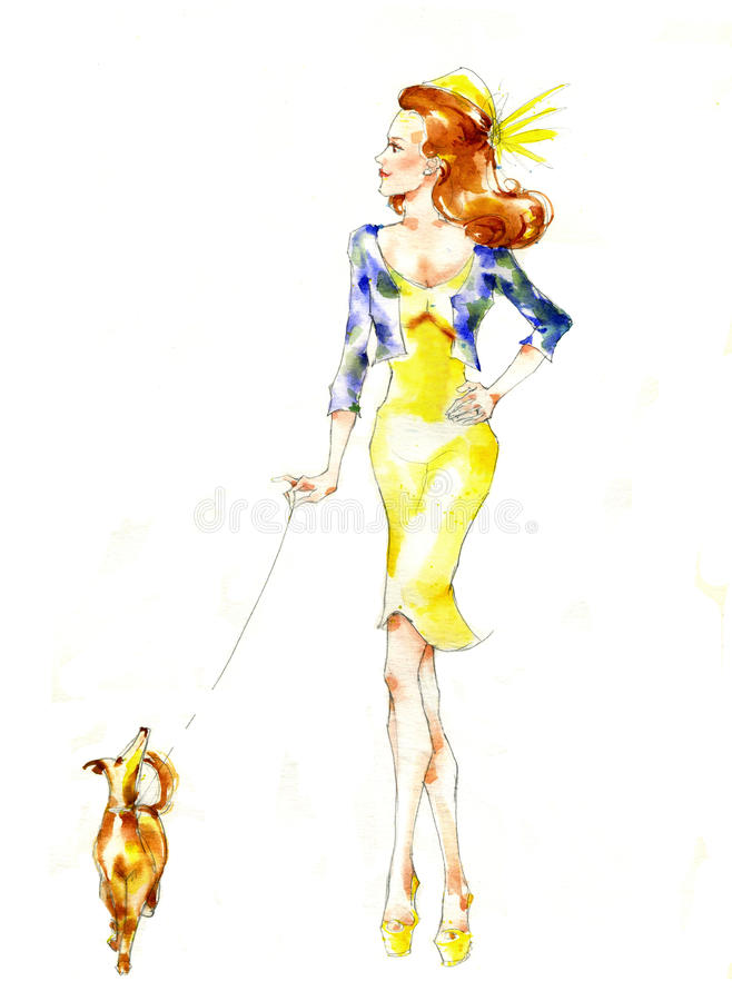 Download Girl walking with a dog stock illustration. Image of female - 26461393