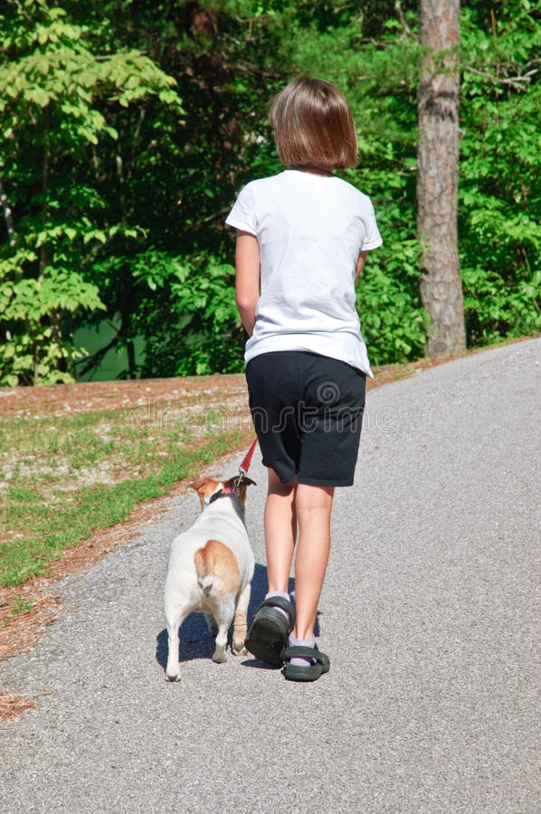 Download Girl Walking Her Dog stock image. Image of animal, outside - 14856485
