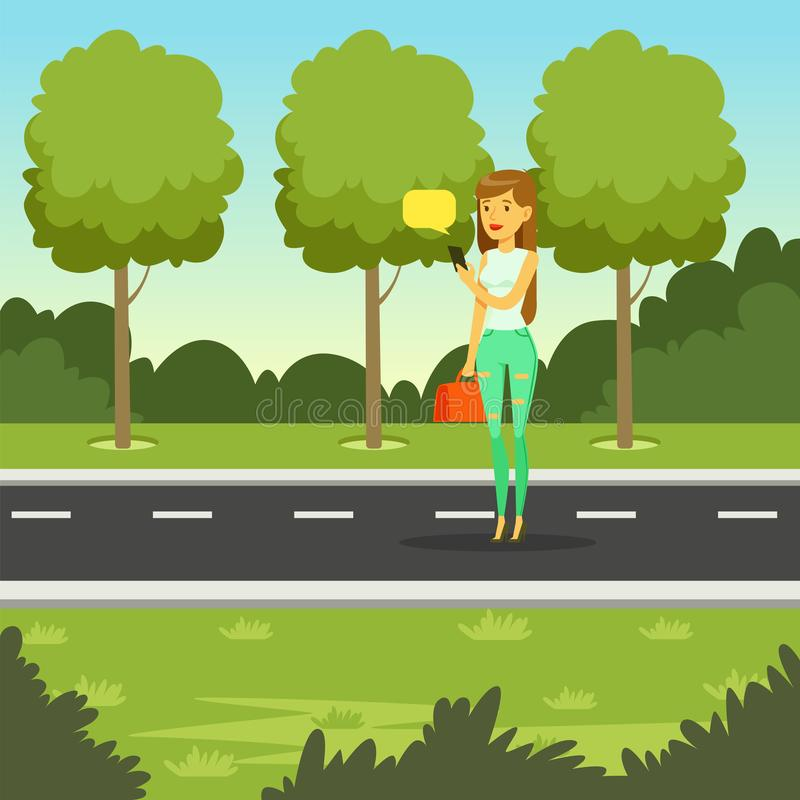 Girl walking in the park and using smartphone to texting messages, flat vector illustration royalty free illustration