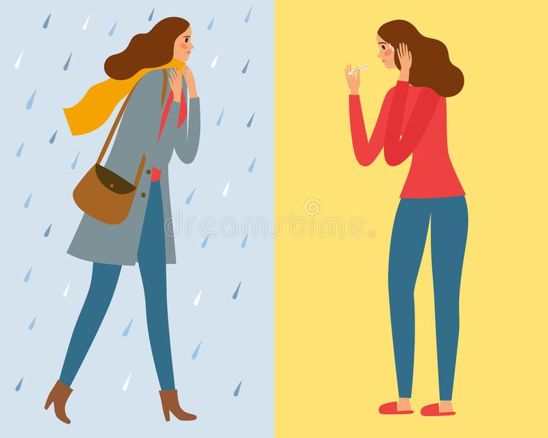 Girl walking under the rain and catch a cold. Cartoon illustration about flu for your design stock illustration