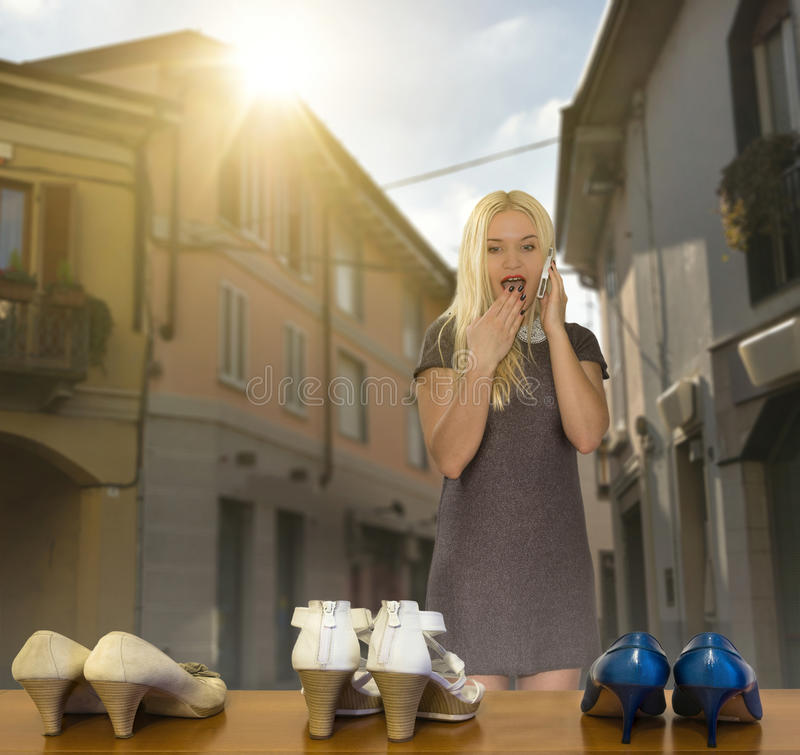 Girl wants new shoes royalty free stock image