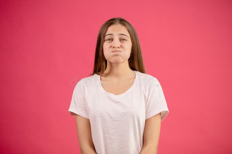 Girl wants to be fat. Psrody. mimic. keep mum. Female with much water on her mouth stock photography