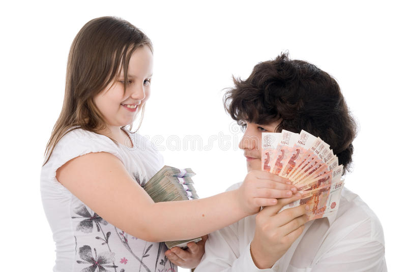 Download Girl Wants To Take Away Money From Boy Royalty Free Stock Image - Image: 24658536