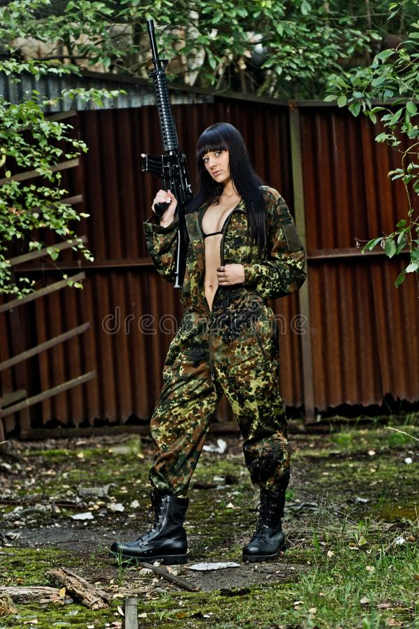 Download Girl in war stock photo. Image of armed, caucasian, adult - 23035096