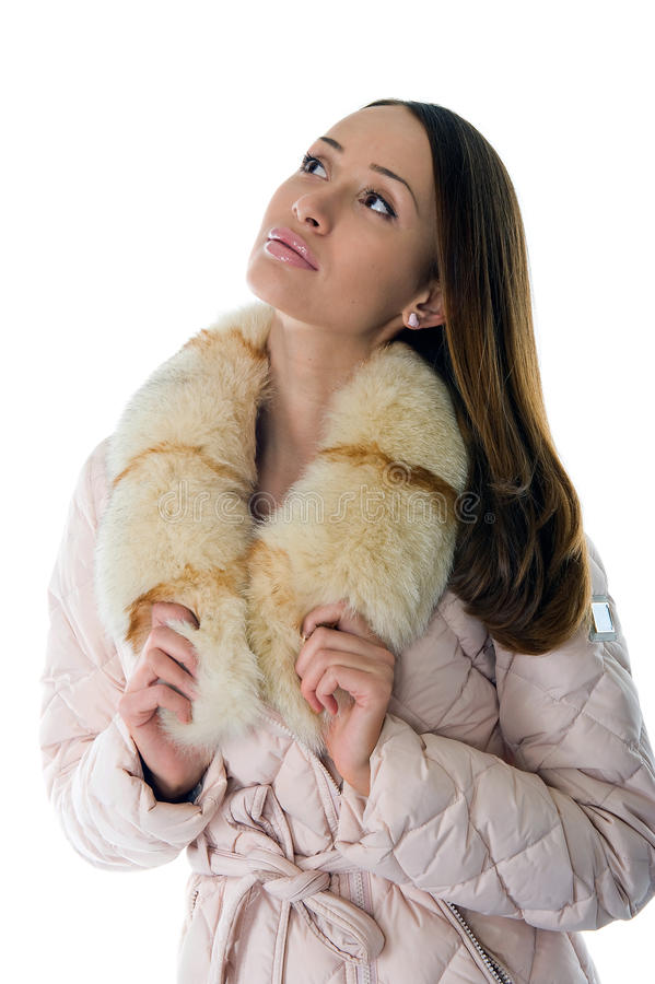 A Girl In A Warm Jacket Stock Image