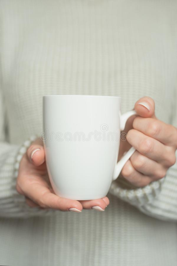 Girl in warm sweater is holding white mug in hands.. Mockup for winter gifts design. royalty free stock photo