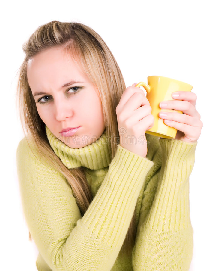 Girl with a warm up beverage stock photos