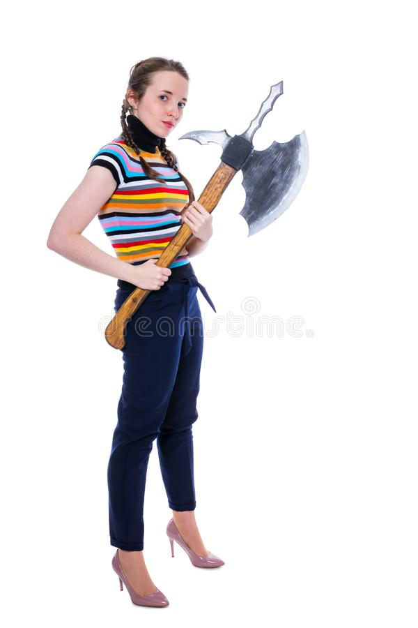 Girl warrior is a winner with a huge ax. Isolation on white stock photography