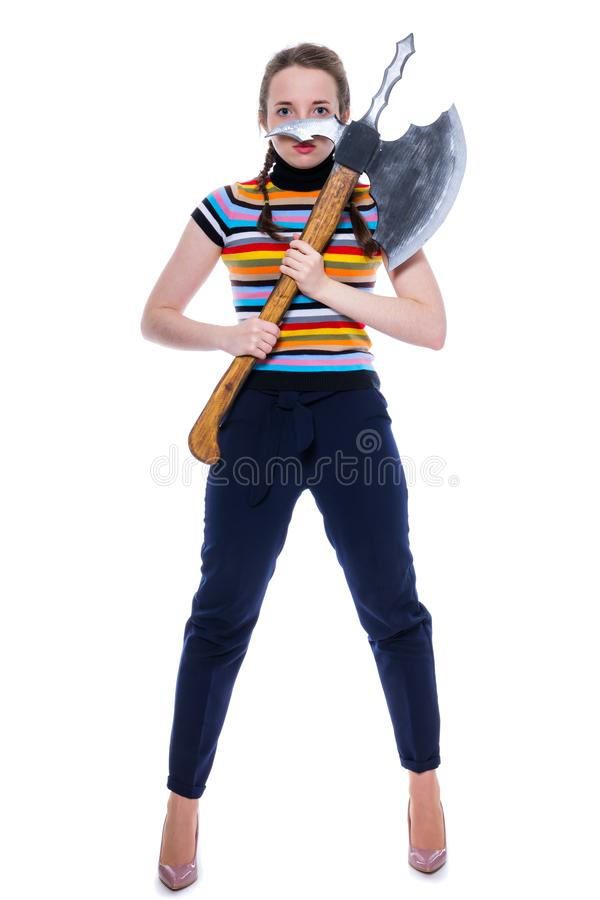 Girl warrior is a winner with a huge ax. Isolation on white royalty free stock photo