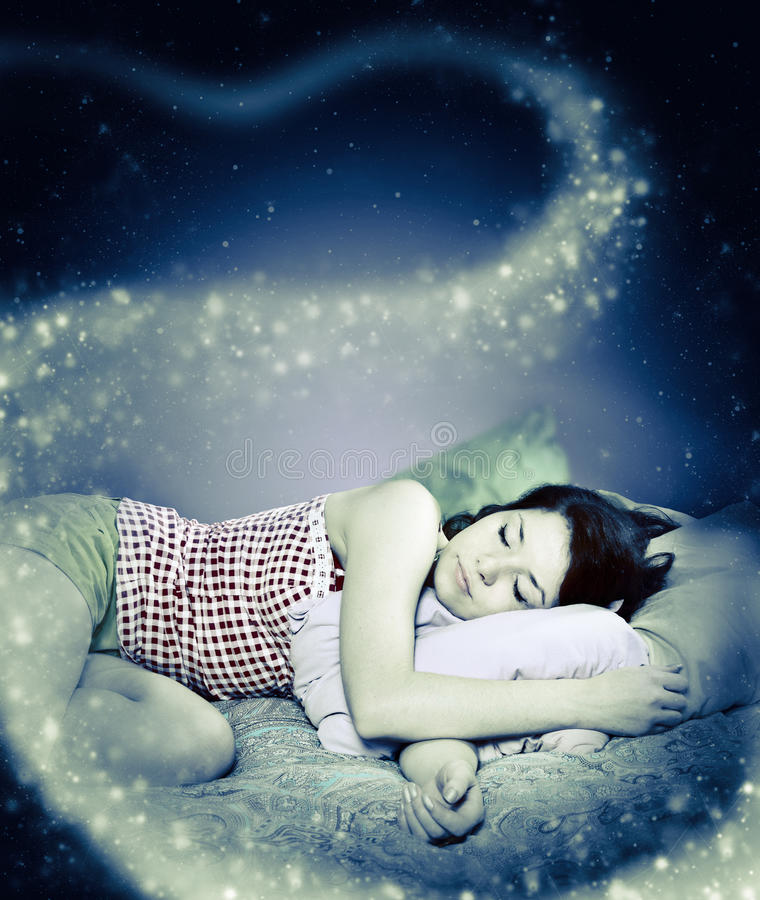 The girl was asleep. The night royalty free stock photography