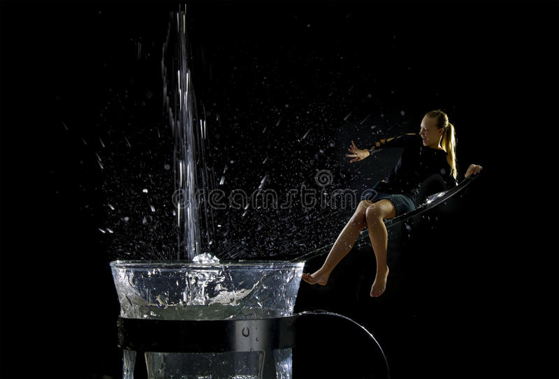 Download The Girl Was Sitting On The Spoon Stock Image - Image: 16309493
