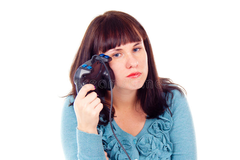 Download The Girl Was Tired Of Video Games Stock Photo - Image of joystick, lost: 27691682