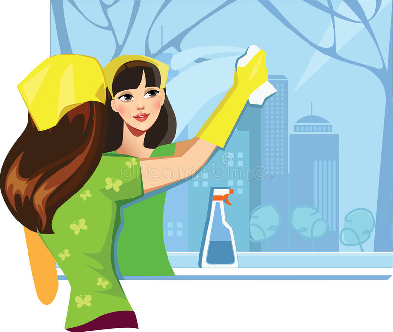 Girl wash window vector illustration