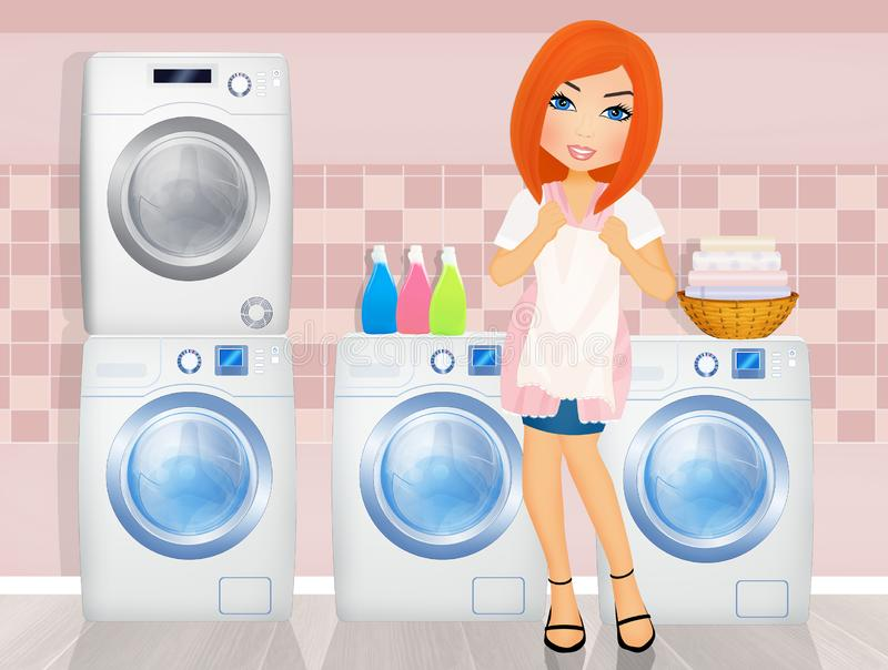Girl with washing machine and laundry products. Illustration of girl with washing machine and laundry products royalty free illustration