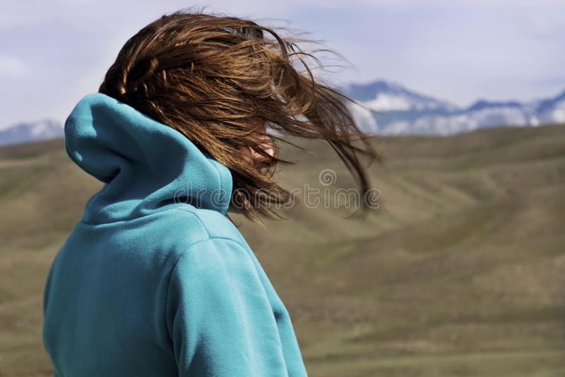 The girl is watching the beautiful landscape royalty free stock photos
