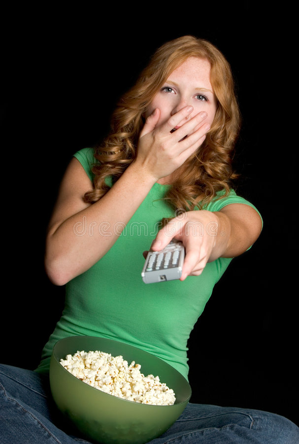 Girl Watching Television royalty free stock image