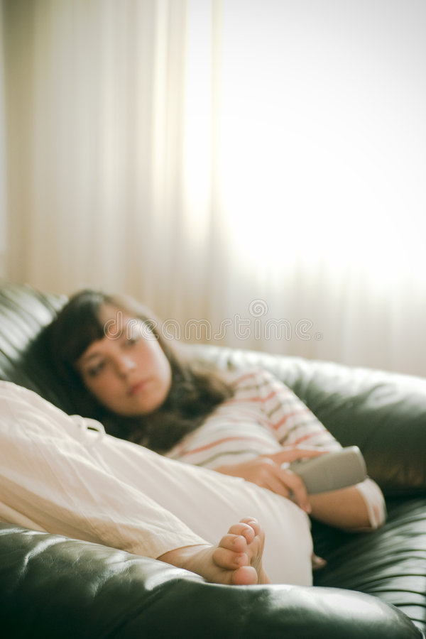Download Girl watching TV stock image. Image of decompress, remote - 2713411