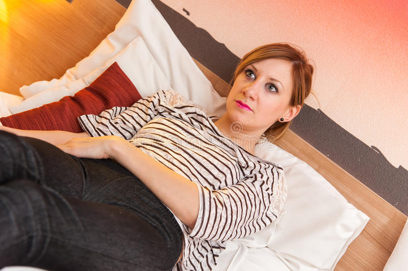 Download Girl Watching TV In Bed Stock Image - Image: 36284831