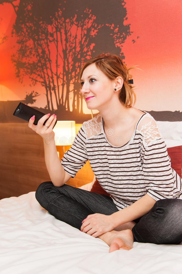 Download Girl Watching TV in Bed stock image. Image of white, television - 36195177