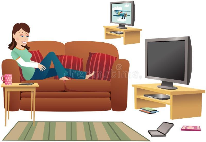 Girl watching TV on sofa royalty free illustration