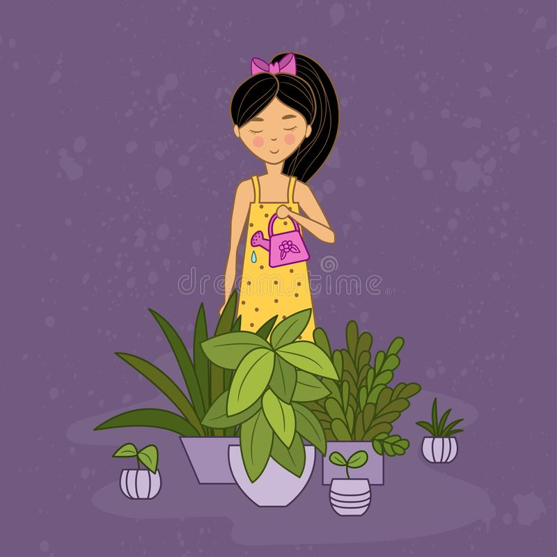 Little girl in yellow dress waters houseplants stock illustration