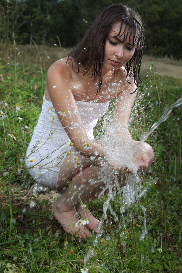 Download Girl And Water Stream Stock Photo - Image: 18147710