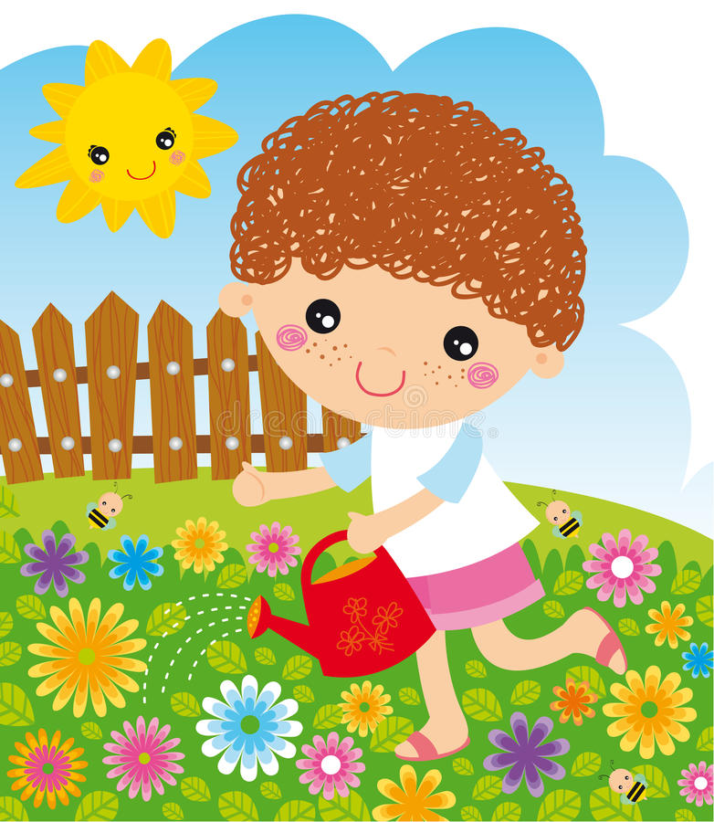 Girl with watering can. Little girl with watering can on flower background stock illustration