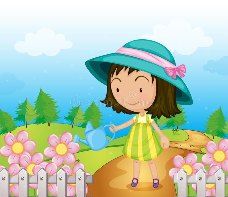 A girl watering the flowers royalty free illustration