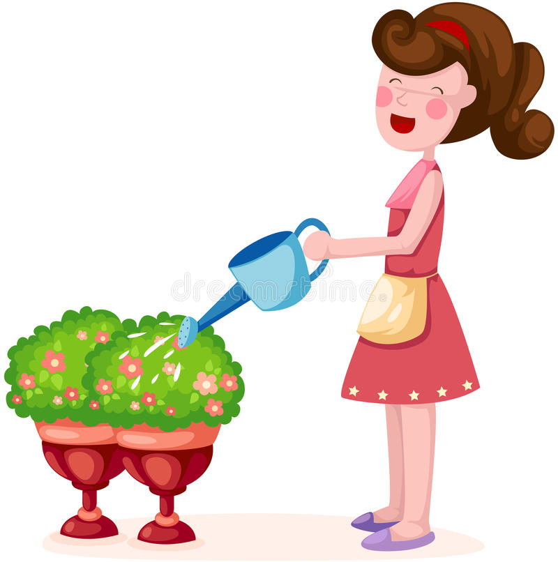Download Girl watering plant stock vector. Image of agriculture - 23669442