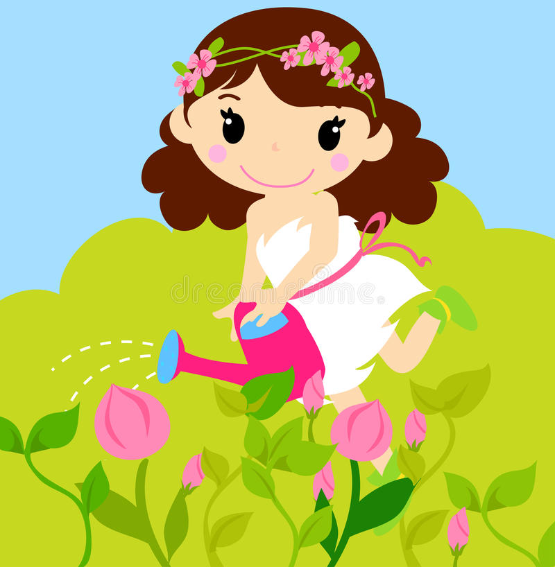 Girl Watering A Plant From Watering Can Stock Vector ...
