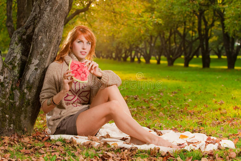 Girl with watermelon stock photos