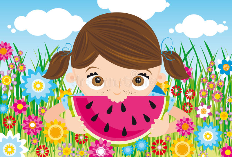 Download Girl with watermelon stock vector. Image of teenager - 16676644