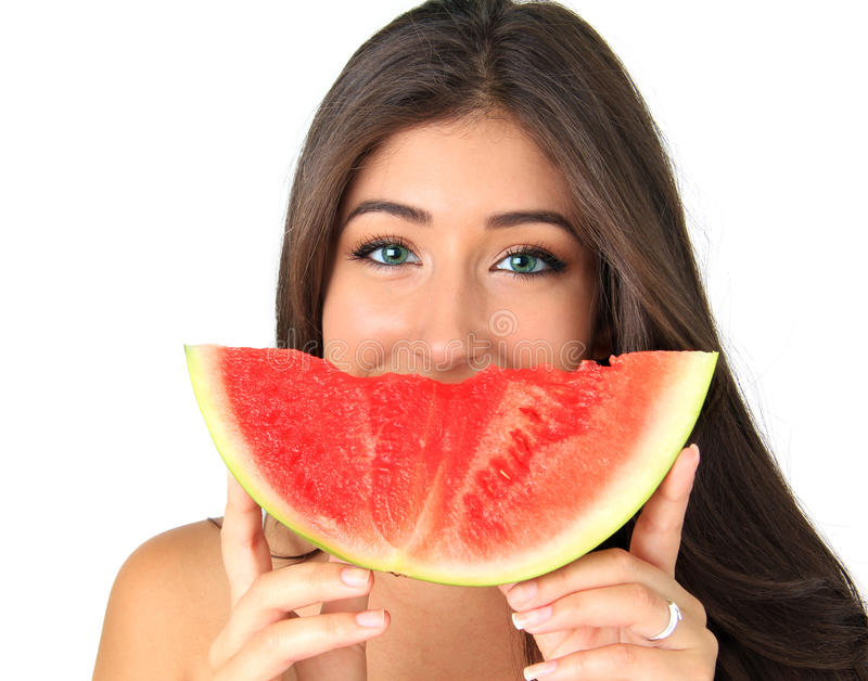 Girl with watermelon royalty free stock photography