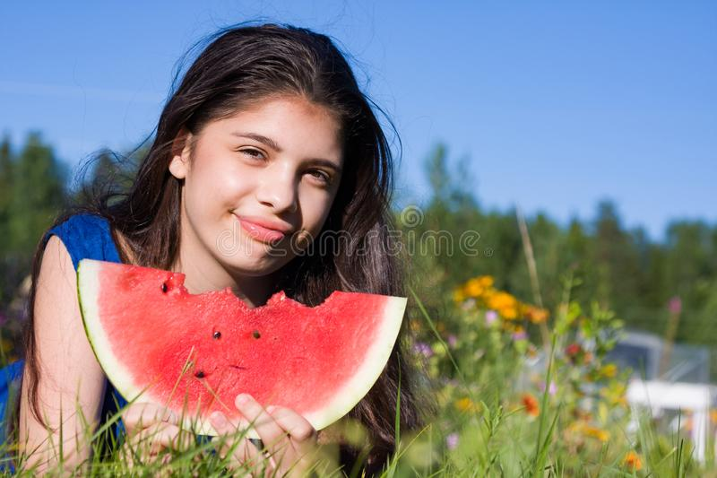Girl with watermelon in summer royalty free stock photos