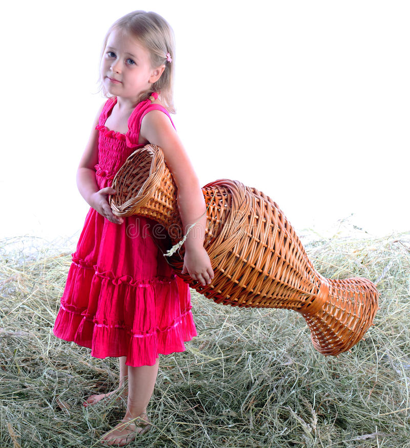 Download The Girl With A Wattled Jug Barefoot On Hay Stock Image - Image: 25402591