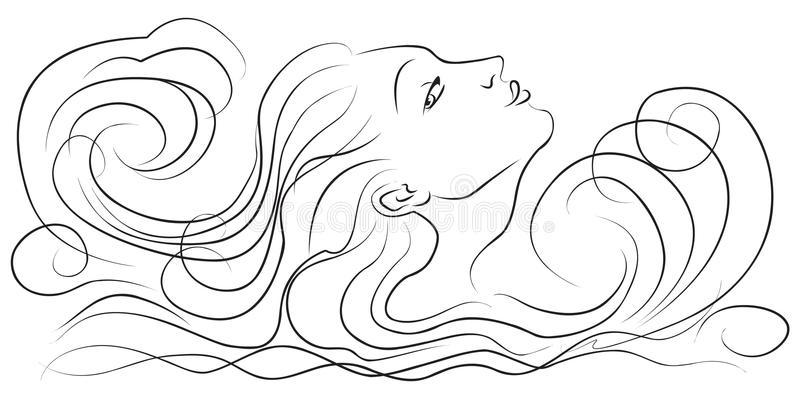 Girl in the waves royalty free illustration