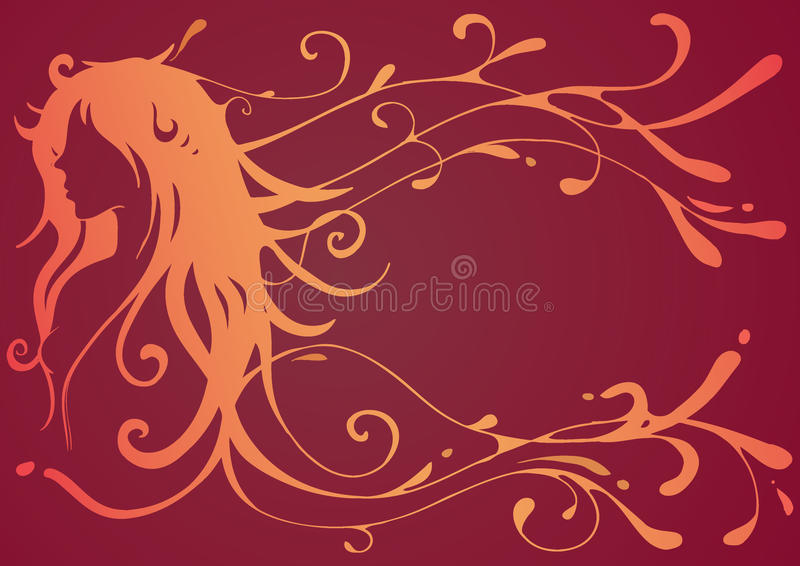 Girl with wavy hair stock illustration