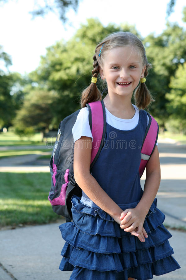Girl  On The Way To School. Stock Photography