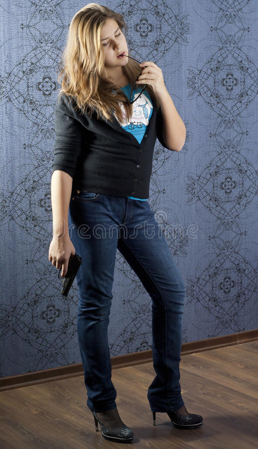 Download Girl with a weapon stock image. Image of female, hand - 22281011