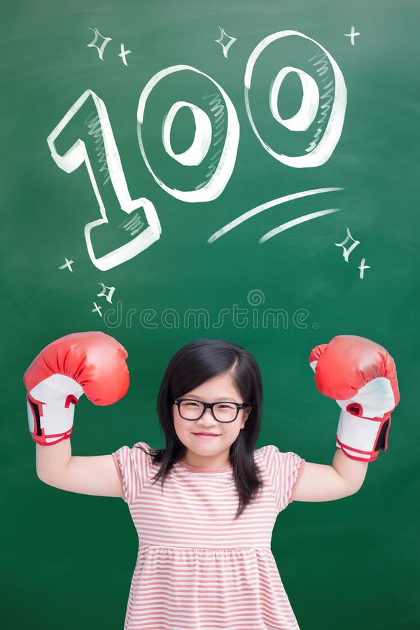 Girl wear glove royalty free stock photography