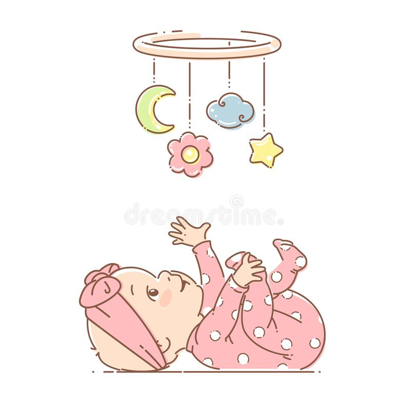 Little baby girl play with hanging mobile toy. Girl wear pink pajamas and bow. Baby girl lying on back, look at bright hanging toy. Colorful vector Illustration vector illustration